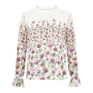 RARE NWT Ted Baker!! Luceal Sheer Thistle Blouse!